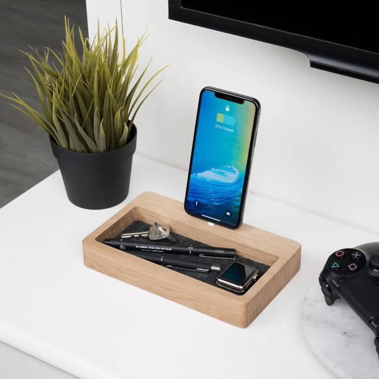 Wooden iPhone Dock Organizer