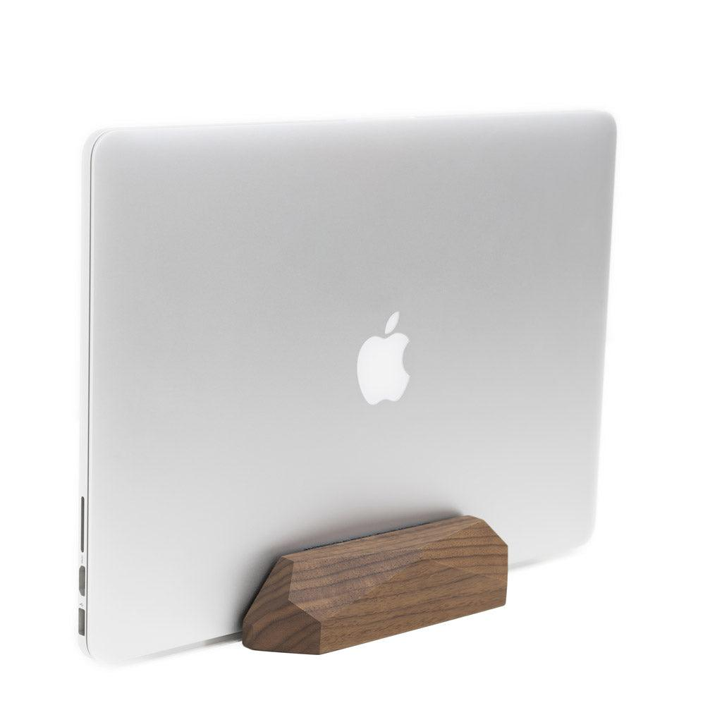 Vertical laptop stand - laptop dock |--variant--|  Walnut
