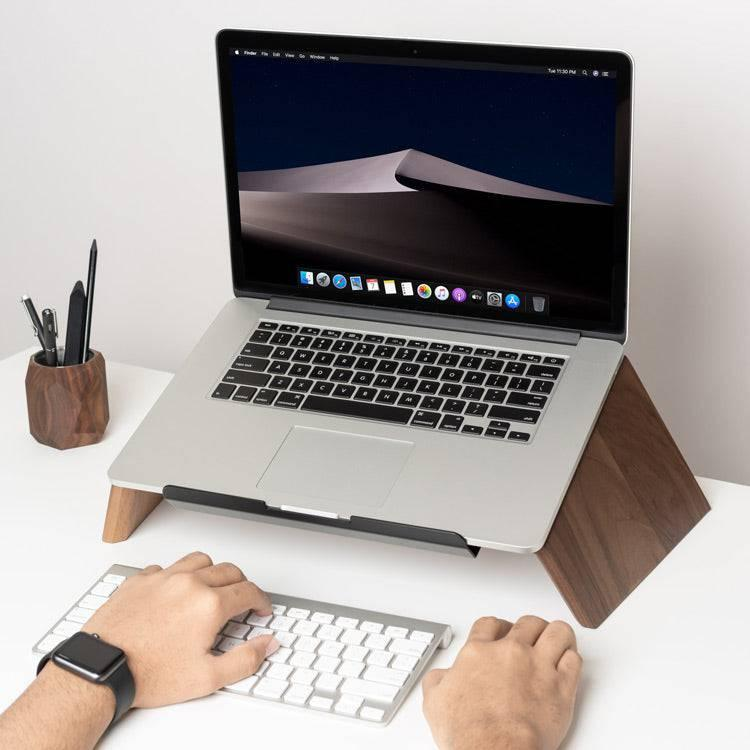 ergonomic wood laptop stand