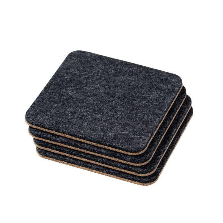 Set of 4 felt and cork coasters in anthracite