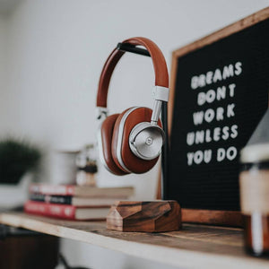 wooden modern headphones stand