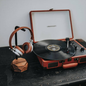 wood headphone holder