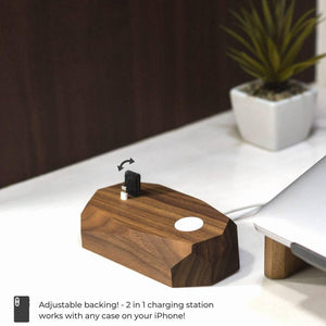 wood iphone and watch charger