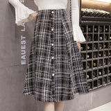 Women's Wool Winter Elegant Front Buttons Skirt