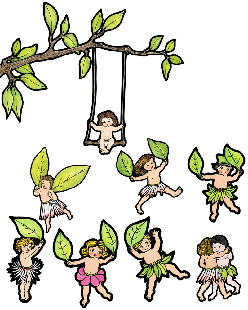 Tree Swing & Leaf Parade Wall Decal