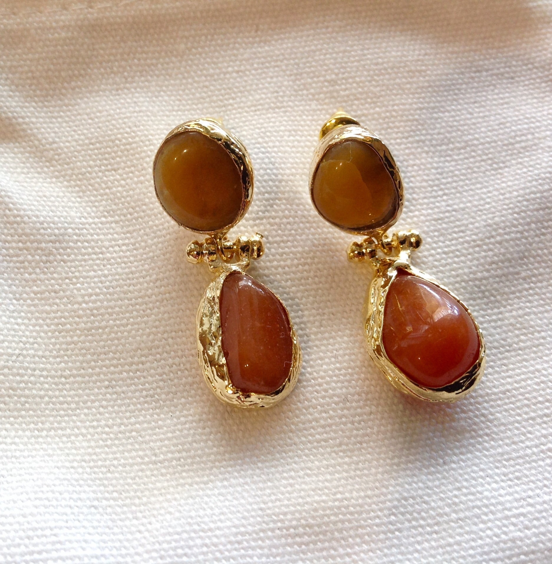HANDMADE DOUBLE DROP EARRINGS - DOUBLE AMBER COLOURED STONE