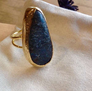 HANDMADE LARGE BLUE/GREY ODD SHAPE RING