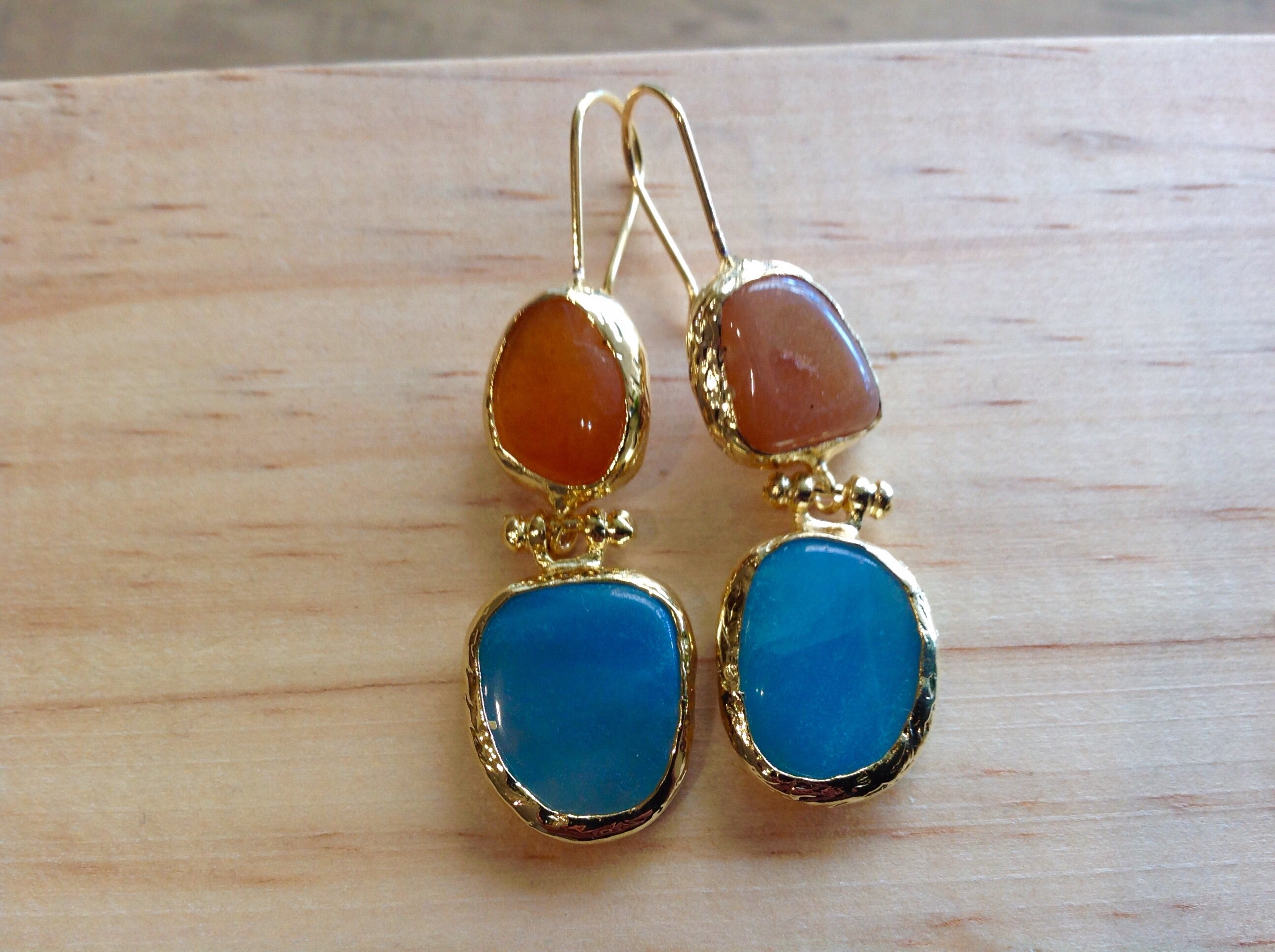 HANDMADE DOUBLE DROP EARRINGS -PEACH/BLUE-GREEN COLOURED STONE