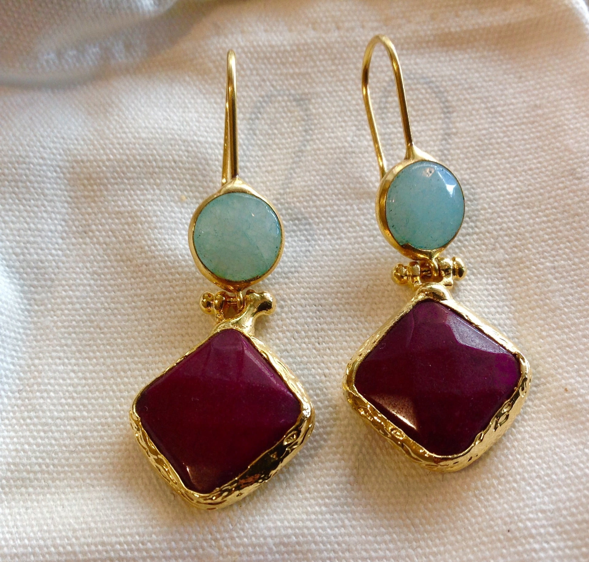 HANDMADE TWIN DROP EARRINGS - AQUA/PINK RUBY COLOURED STONE