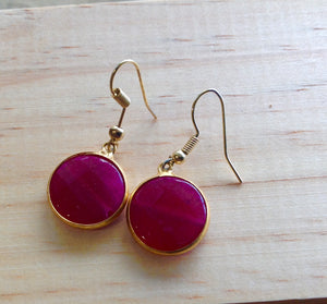 HANDMADE SINGLE DROP - PINK COLOURED STONE