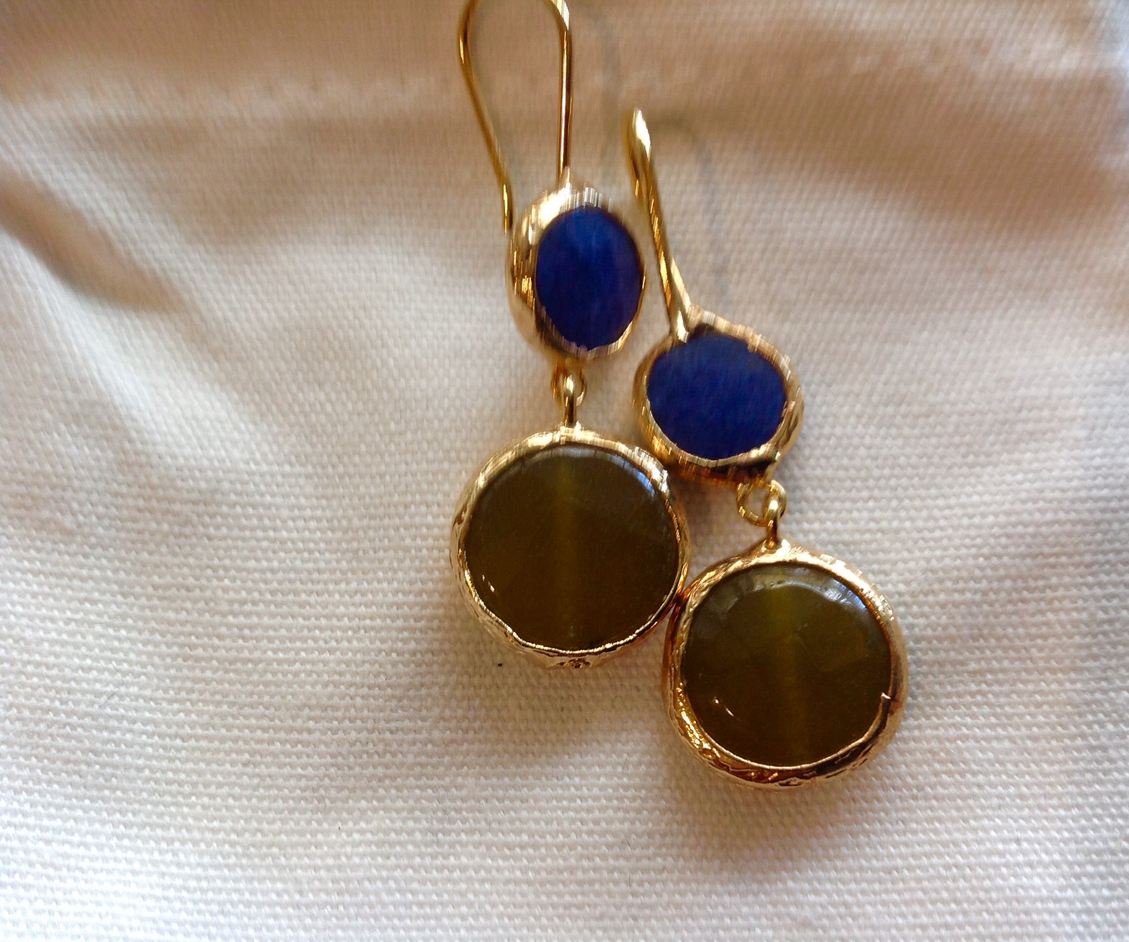HANDMADE DOUBLE DROP EARRINGS - BLUE/LIME COLOURED STONE