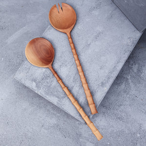 LARGE RECYCLED SAPODILLA WOOD SALAD SERVERS