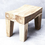 ARZU MINI CURVED TEAK SIDE TABLE IN RUSTIC FINISH