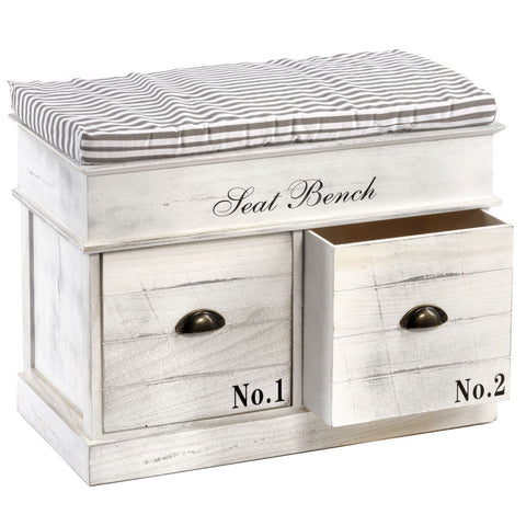 White Wooden Storage Bench With Padded Seat 2 Drawers Inspirony