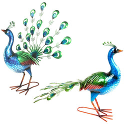 Shiny Painted Metal Peacock Garden Ornaments