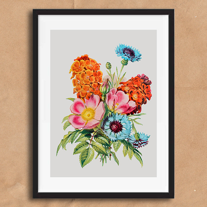 Vintage Twist Pink Floral Illustration wall art print framed and unframed