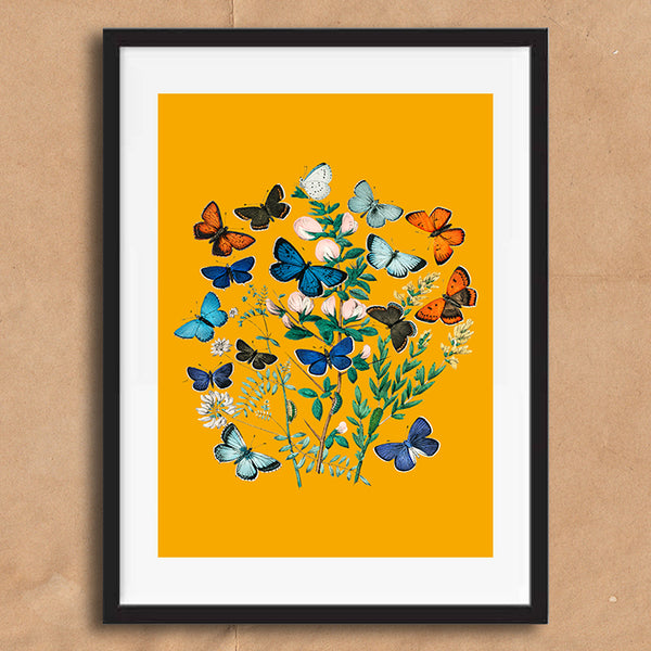 Vintage Twist Butterfly Floral Illustration wall art print framed and unframed