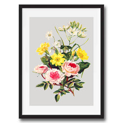 Vintage Twist Flowers Floral Illustration wall art print framed and unframed