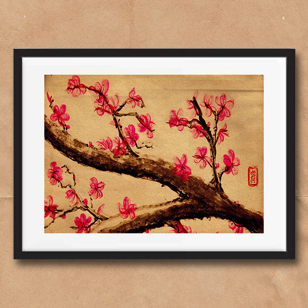 Vintage Japanese Cherry Blossom illustration art print various sizes unframed and framed