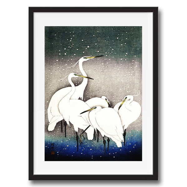 Vintage Japanese Crane illustration art print various sizes unframed and framed