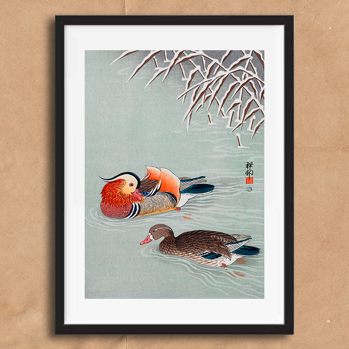 Vintage Japanese Duck illustration art print various sizes unframed and framed