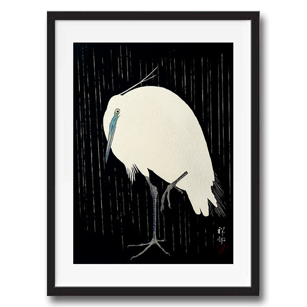 Vintage Japanese Heron Bird illustration art print various sizes unframed and framed