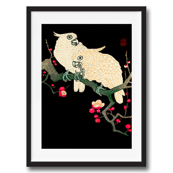 Vintage Japanese Cockatoo Birds illustration art print various sizes unframed and framed