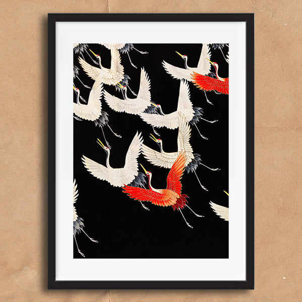 Vintage Japanese Crane Bird illustration art print various sizes unframed and framed