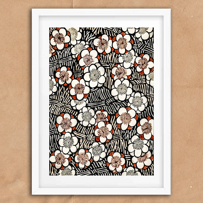 Japanese Floral Pattern retro vintage wall art print framed and unframed