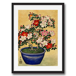 Japanese Floral Bonsai retro vintage wall art print framed and unframed