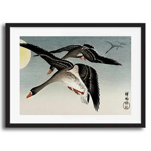 Japanese Geese Bird retro vintage wall art print framed and unframed