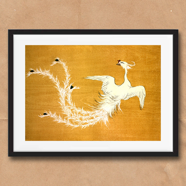 Japanese White Peacock Bird retro vintage wall art print framed and unframed