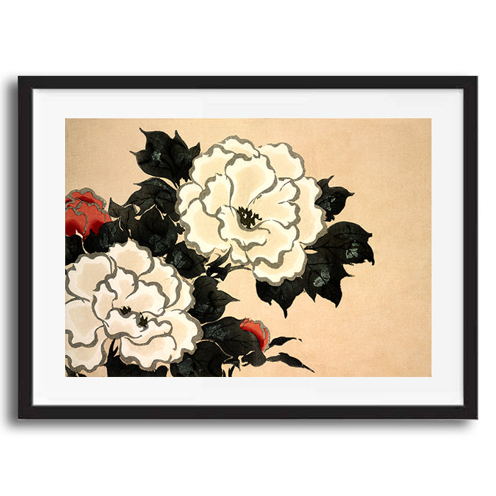 Japanese Floral Flowers retro vintage wall art print framed and unframed