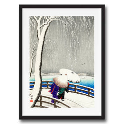 Women Yanagi Bridge retro vintage Japanese wall art print framed and unframed