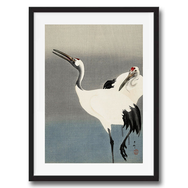 Two Cranes retro vintage bird Japanese wall art print framed and unframed