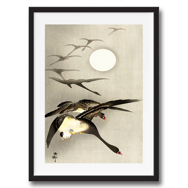 Geese Full Moon retro vintage bird Japanese wall art print framed and unframed