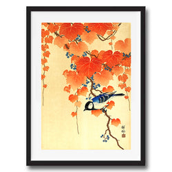 Bird on Paulownia branch retro vintage Japanese wall art print framed and unframed