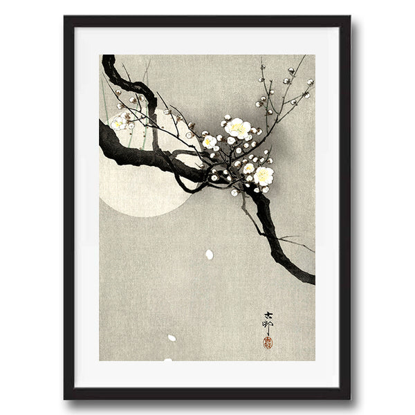 Plum Blossom Moon retro vintage Japanese wall art print framed and unframed