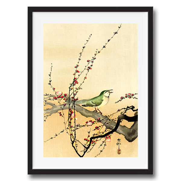 Song Bird Plum Blossom retro vintage Japanese wall art print framed and unframed