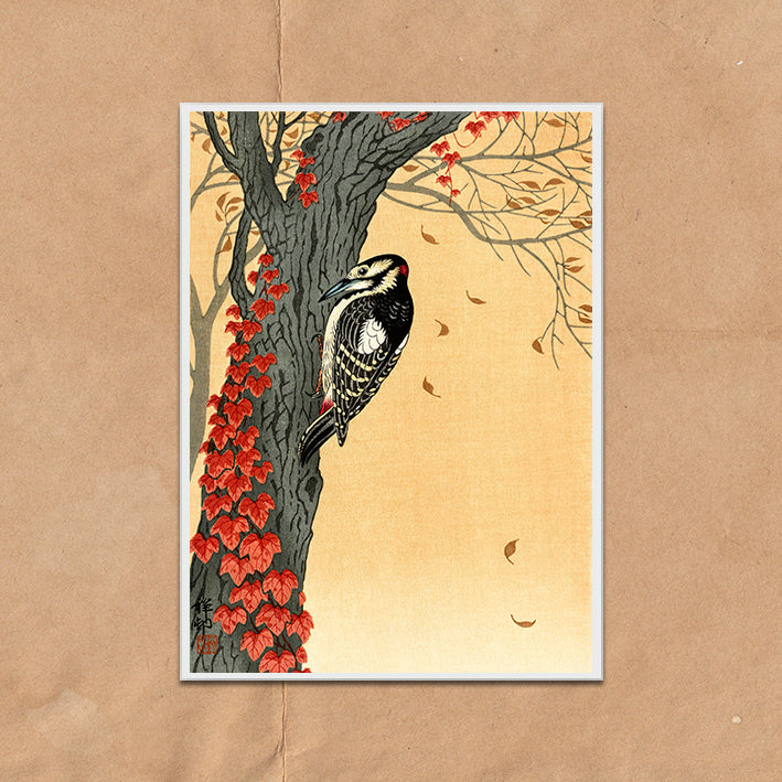 Woodpecker and Red Ivy retro vintage Japanese wall art print framed and unframed