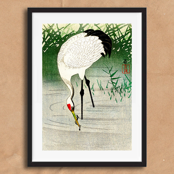 Fishing Crane retro vintage Japanese wall art print framed and unframed