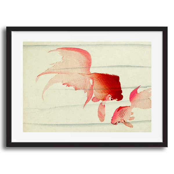 Goldfish painting retro vintage Japanese wall art print framed and unframed