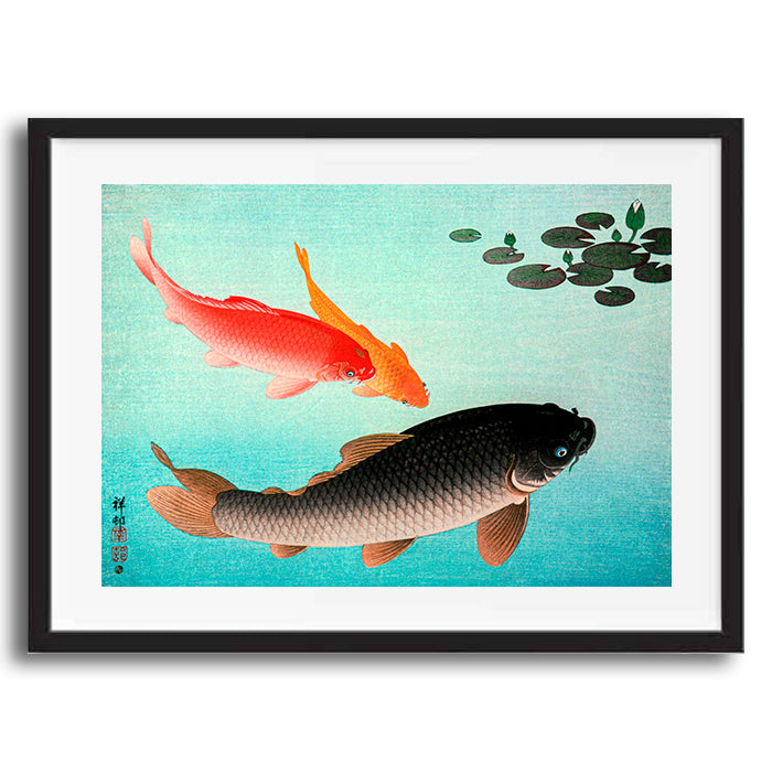 Common and Golden Carp painting retro vintage Japanese wall art print framed and unframed