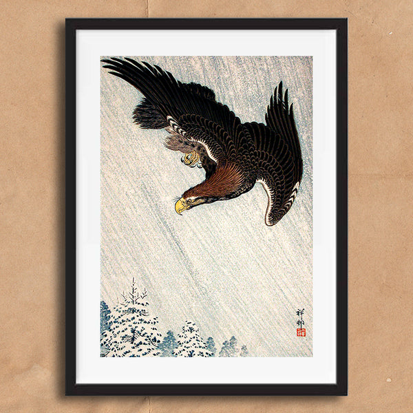 Eagle in the snow painting retro vintage Japanese wall art print framed and unframed