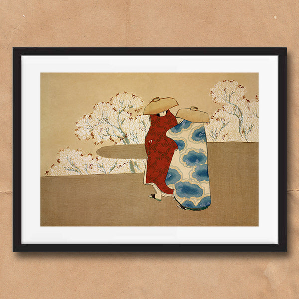 Hanami Season painting retro vintage Japanese wall art print framed and unframed
