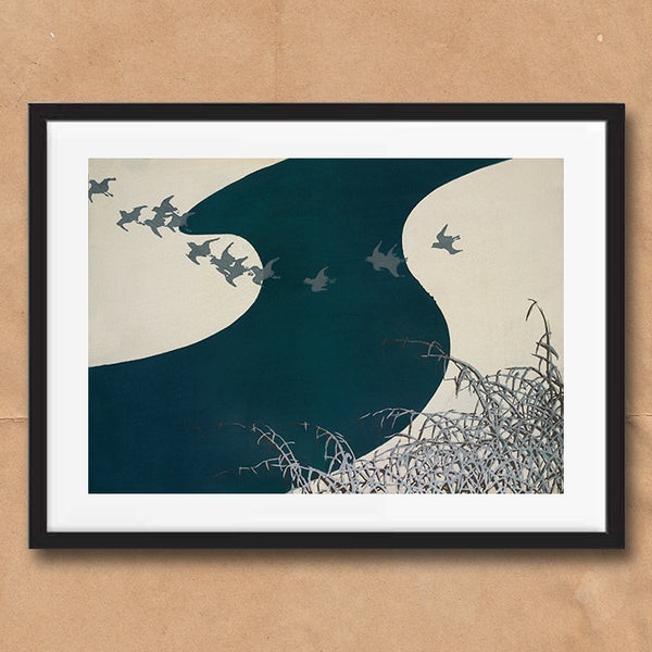 Birds over river painting retro vintage Japanese wall art print framed and unframed