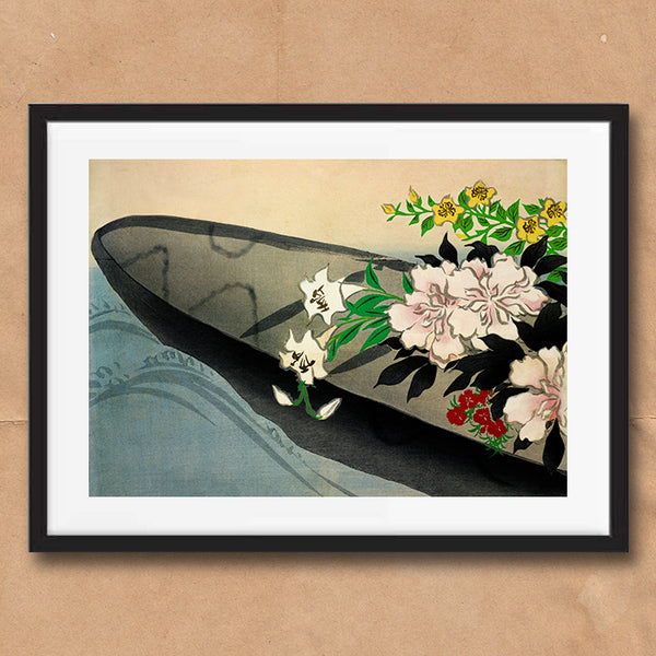 Flower Boat painting retro vintage Japanese wall art print framed and unframed