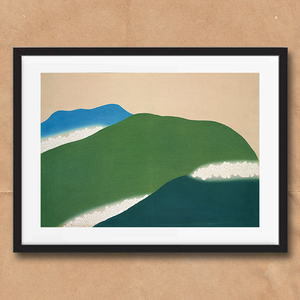 Green Mountains painting retro vintage Japanese wall art print framed and unframed