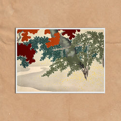 Maple Leaf painting retro vintage Japanese wall art print framed and unframed