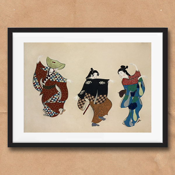 Dancers painting retro vintage Japanese wall art print framed and unframed